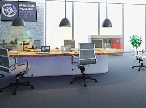 Wnętrze symulacji zarządzania projektami wprowadzenie nowego produktu na rynek