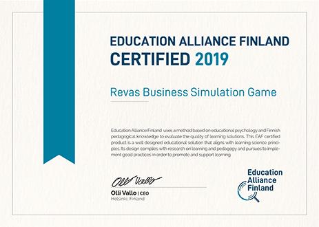 Certyfikat Branżowe Symulacje Biznesowe odEducation Alliance Finland