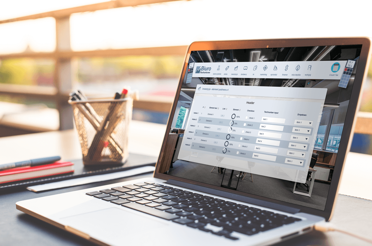 laptop z symulacją biuro rachunkowe